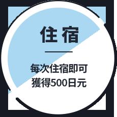 住宿 每次住宿即可獲得500日元