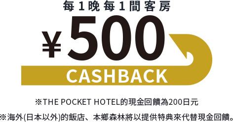 每1晚每1間客房500日元的現金回饋